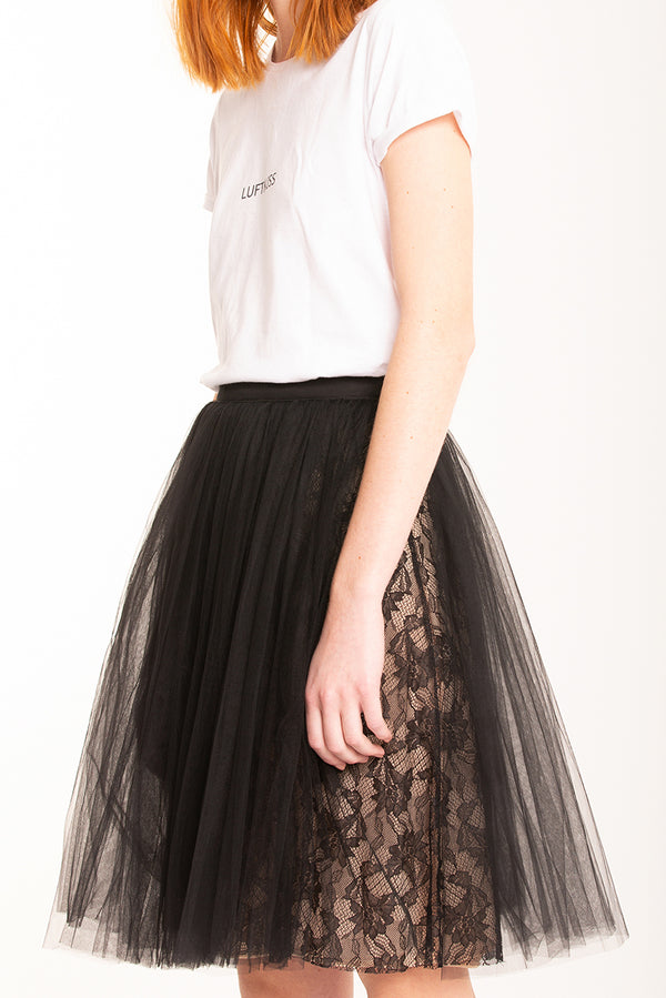Tull skirt with lace