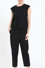 Black top with pearl fringes