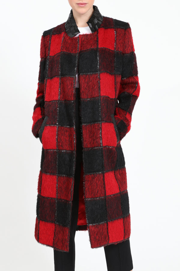 Red and black midi-length coat