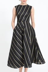 Midi-dress with stripes