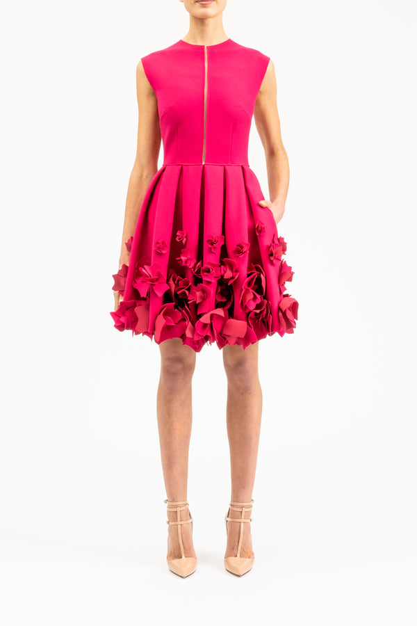 Pink A-line dress with flowers