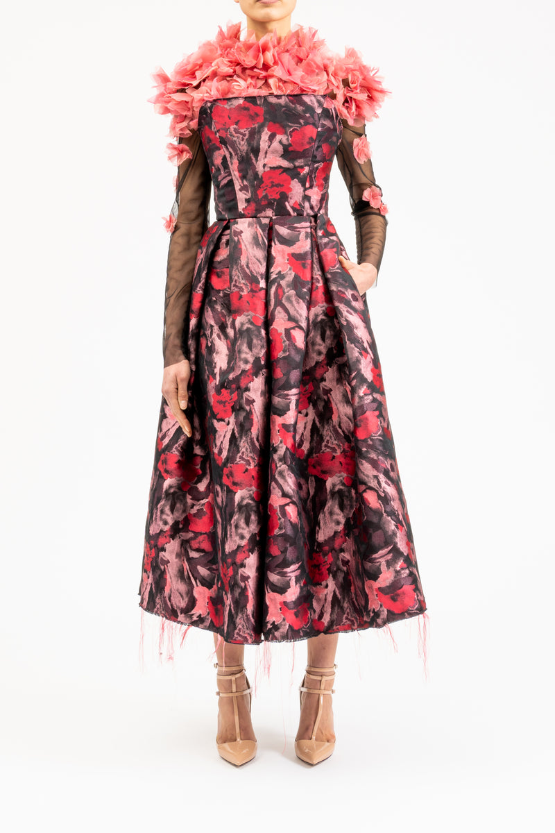 Midi dress with corsage