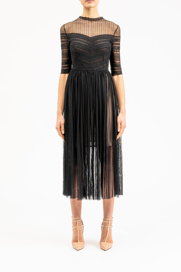 Black midi-length lace dress
