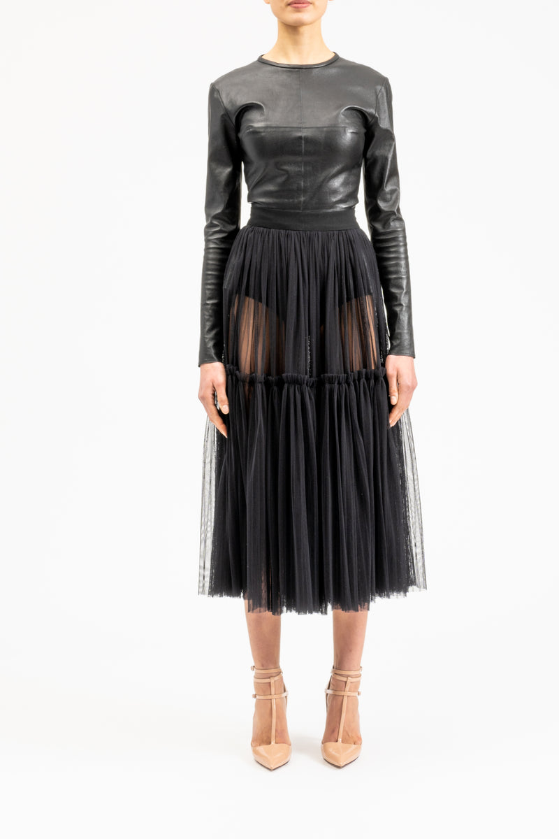 A-line ruffled midi skirt