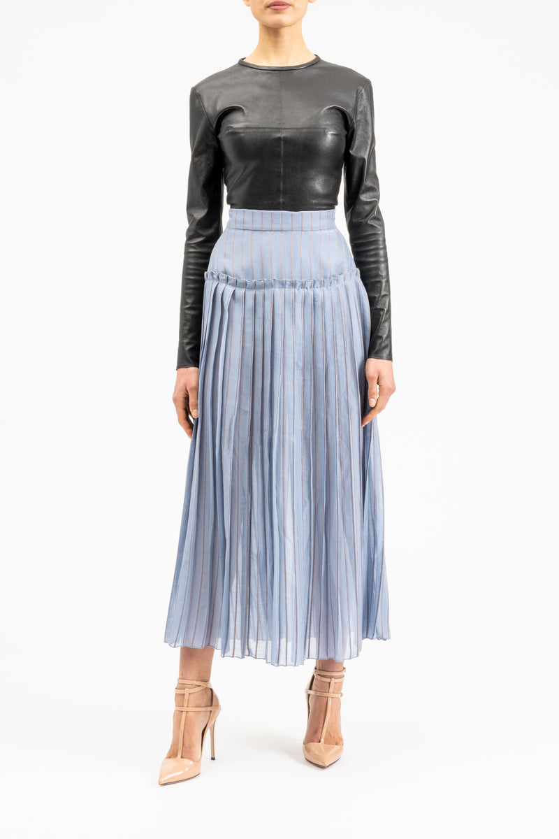 Blue skirt in midi-length