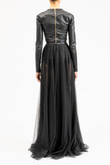 Black floor-length lace skirt