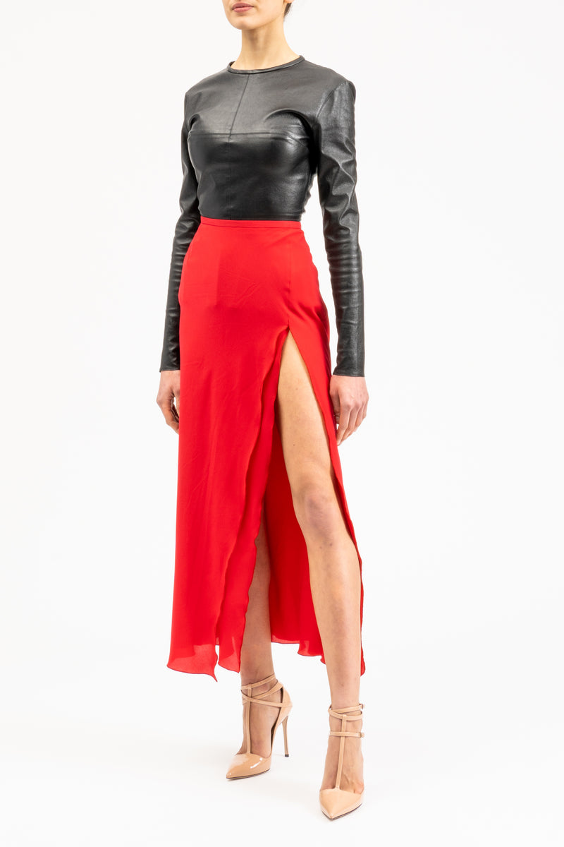 Pencil maxi-length skirt with slit
