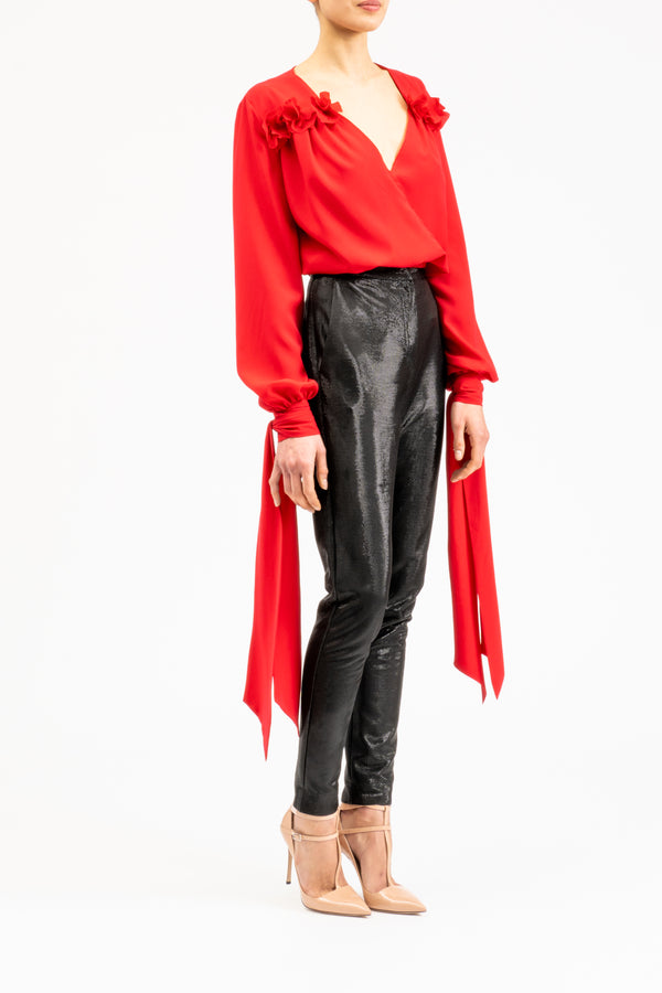 Red chiffon blouse with bow cuffs