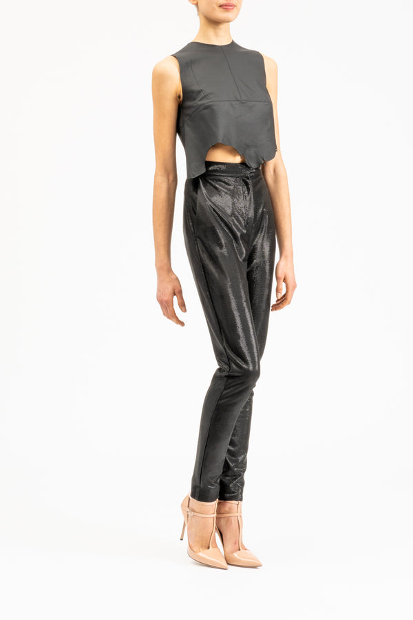 Sleeveless matt leather top