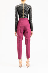 Slim-fit berry pants