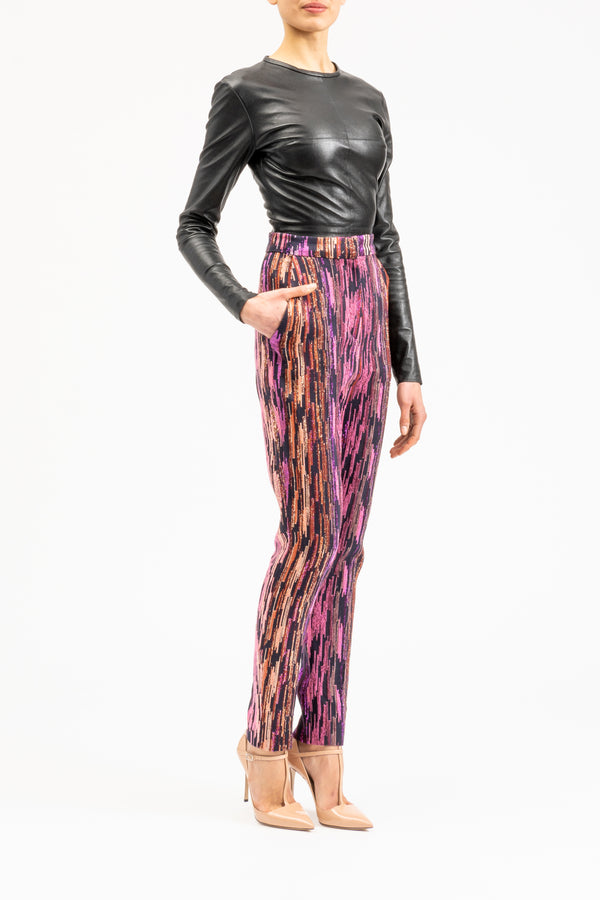 High-waisted ankle-length slim-fit pants