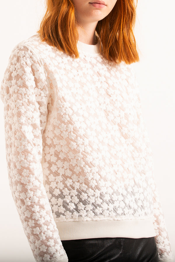 Embroidered organza sweatshirt