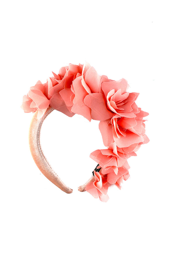 Pink headband with flowers