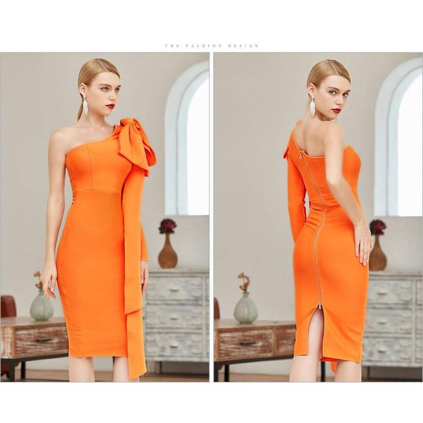 Adyce One Shoulder Bow Bandage Dress - I'M LOGiiC