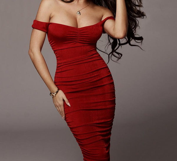 Fantoye Suede Off-Shoulder Long Dress - I'M LOGiiC