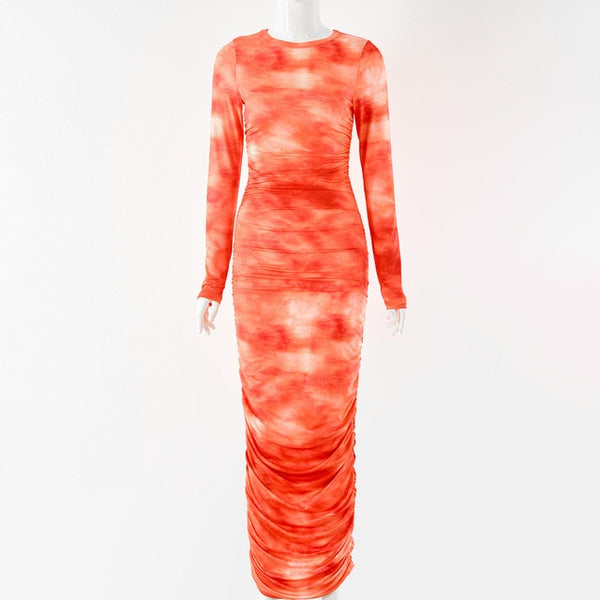Dulzura Tie Dye Print Ruched Dress