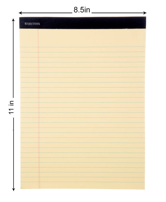 Mintra Office-Legal Pads (Basic Letter-Canary- Wide Ruled) 36 Pack - Mintra USA