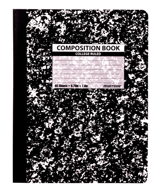 Black Marble Composition Books (College Ruled, 4 Pack) - Mintra USA