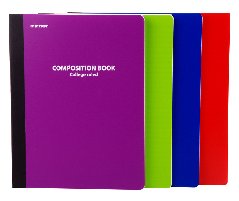 Assorted Solid Poly Composition (College Ruled, 4 Pack) - Mintra USA