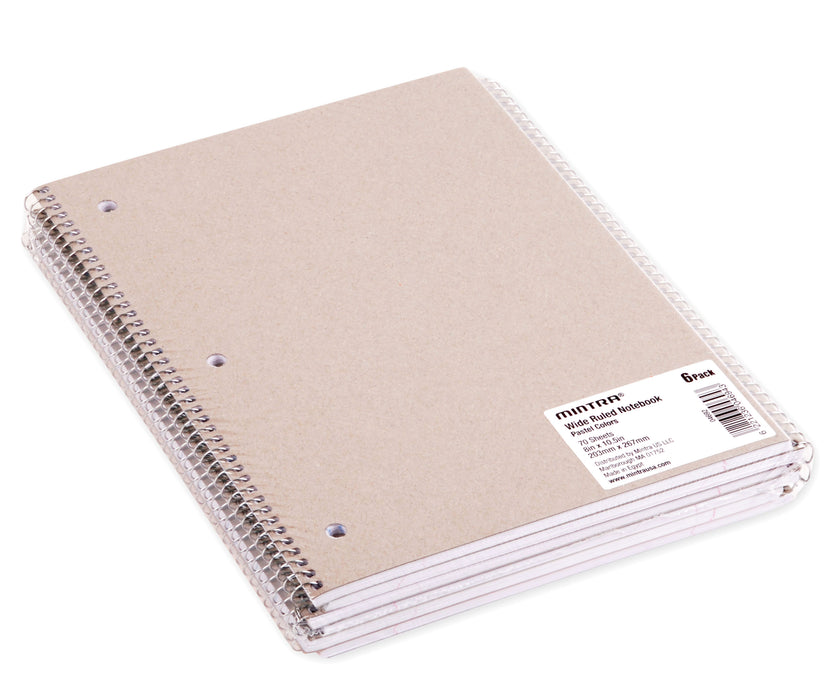 Mintra Office-Spiral Notebooks 70 Count (Pastel - Wide Ruled) 24 Pack - Mintra USA