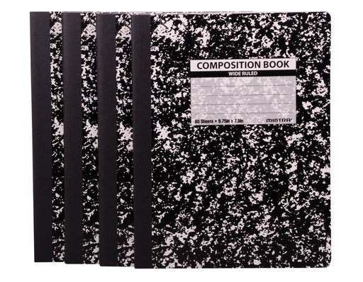Black Marble Composition Books (Wide Ruled, 4 Pack) - Mintra USA