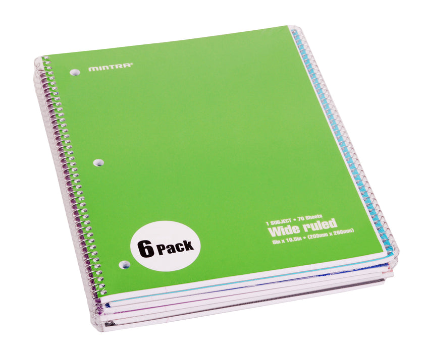 Spiral Notebook - Solid (70 count, 6 Pack) - Mintra USA