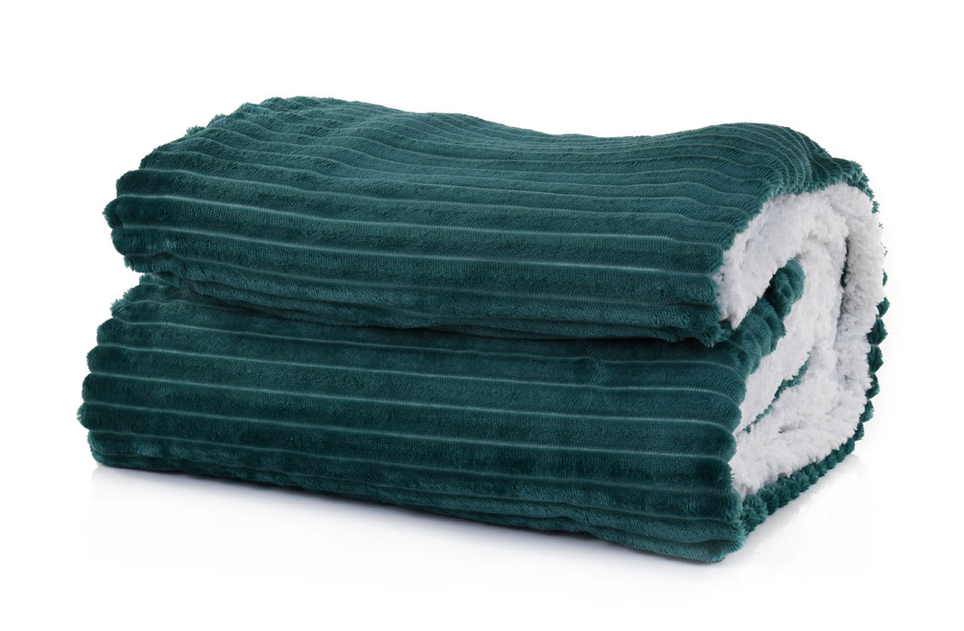 Mintra Home - Sherpa Stripe Flannel Blanket Large (70in x 86in) - Mintra USA