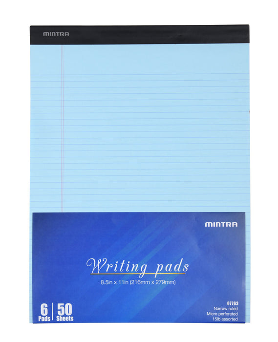 Basic Pastel Legal Pads - 8.5in x 11in Narrow Ruled 6 pack - Mintra USA