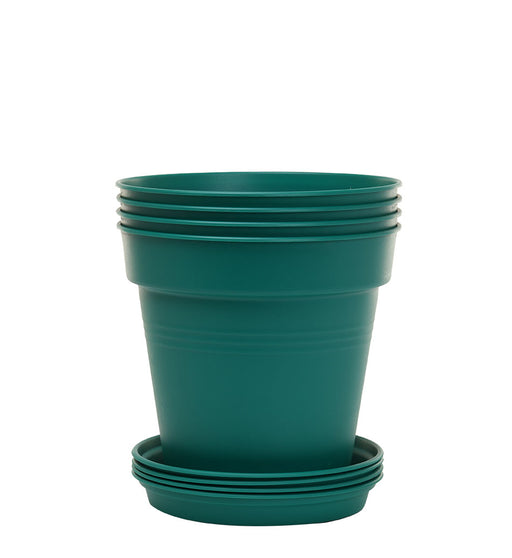 Round Plant Pots With Base (4 Pack, 6.7in) 15 Cm - Mintra USA