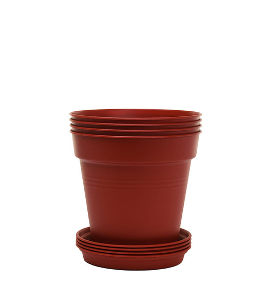 Round Plant Pots With Base (4 Pack, 5.1in) 13 Cm - Mintra USA