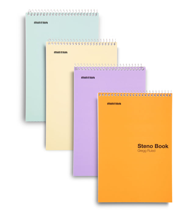 Steno Books 4 pack (Pastel Colors  - Green Tint Paper, Gregg Ruled) - Mintra USA