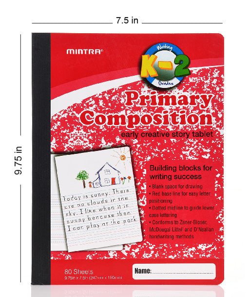 Mintra Office-Composition Notebooks (Primary Ruled - Assorted) 24 Pack - Mintra USA
