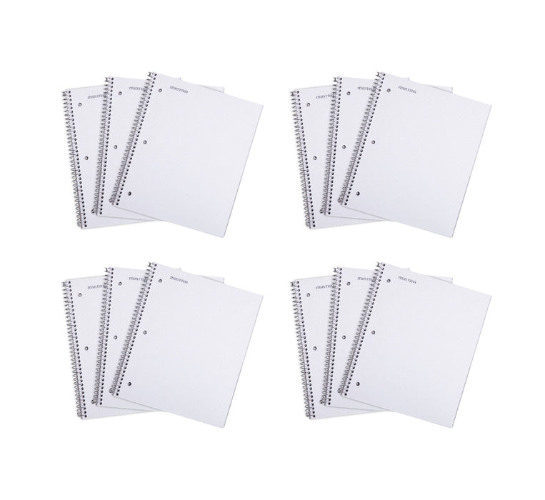 Mintra Office Durable Spiral Notebooks, 1 Subject, 100 Sheets, Wide Ruled, 12 Pack - Mintra USA