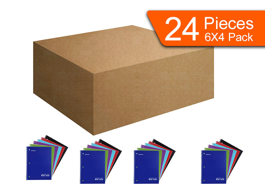 Mintra Office - Spiral Notebooks  70 Count (Poly Cover - Wide Ruled) 24 Pack - Mintra USA