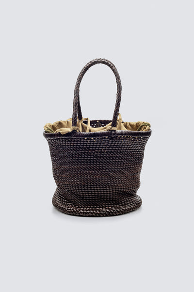 Dragon Diffusion woven leather bag Chain Weave Bucket Lining Big Dark Brown