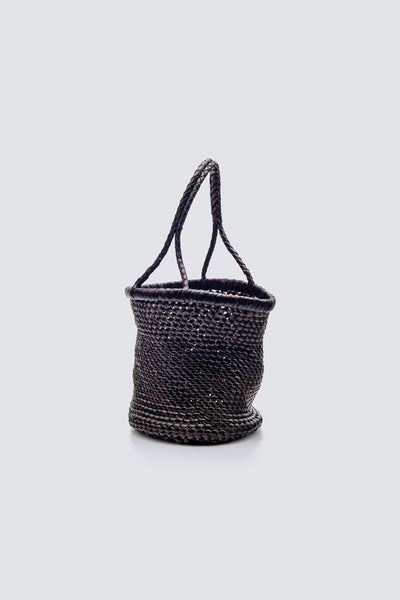 Dragon Diffusion woven leather bag Chain Weave Bucket Small Dark Brown