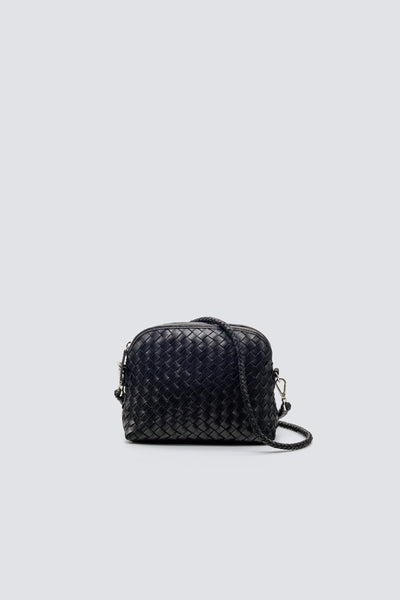 Dragon Diffusion woven leather bag Fellini Pochette Black