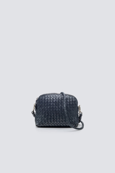 Dragon Diffusion woven leather bag Fellini Pochette Marine