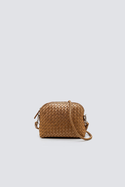 Dragon Diffusion woven leather bag Fellini Pochette Natural