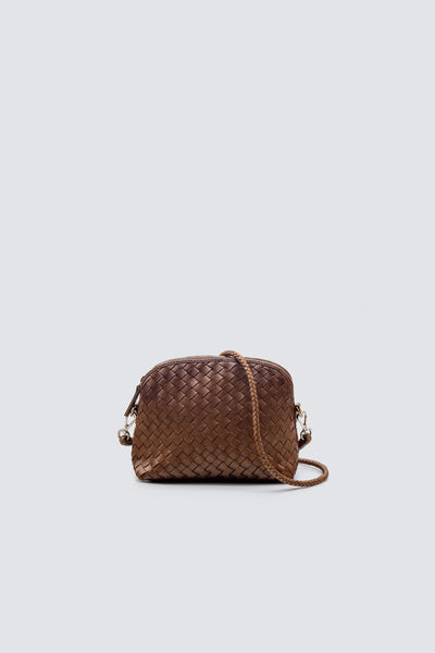 Dragon Diffusion woven leather bag Fellini Pochette Tan