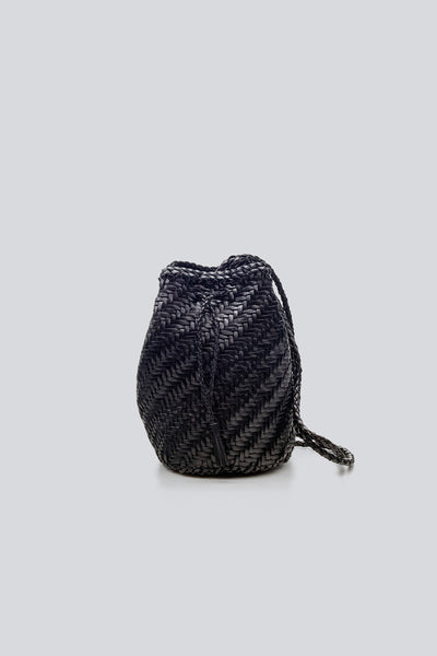 Dragon Diffusion woven leather bag Pompom Double Jump Black