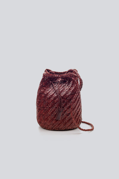 Dragon Diffusion woven leather bag Pompom Double Jump Bordeaux