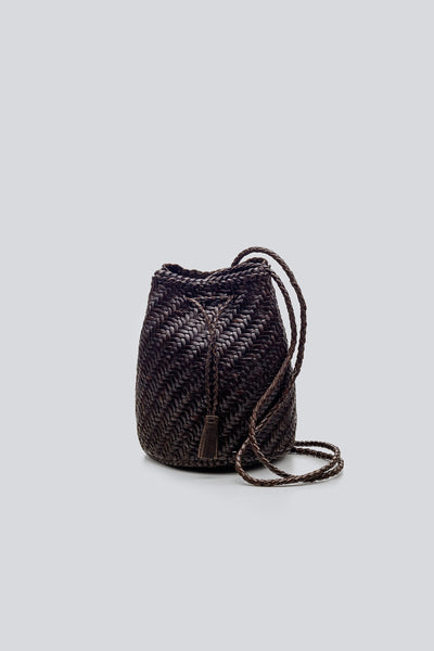 Dragon Diffusion woven leather bag Pompom Double Jump Dark Brown