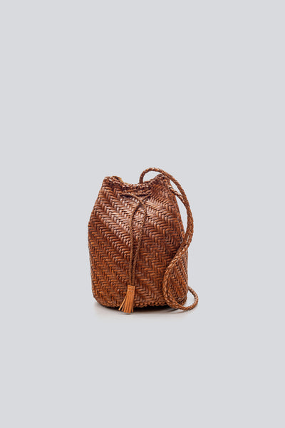 Dragon Diffusion woven leather bag Pompom Double Jump  Dark Tan
