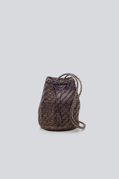 Dragon Diffusion woven leather bag Pompom Double Jump Dark Grey
