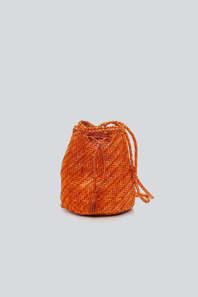 Dragon Diffusion woven leather bag Pompom Double Jump  Orange