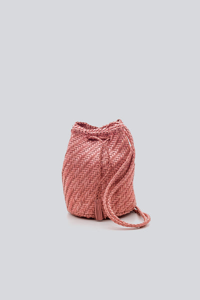 Dragon Diffusion woven leather bag Pompom Double Jump  Pink