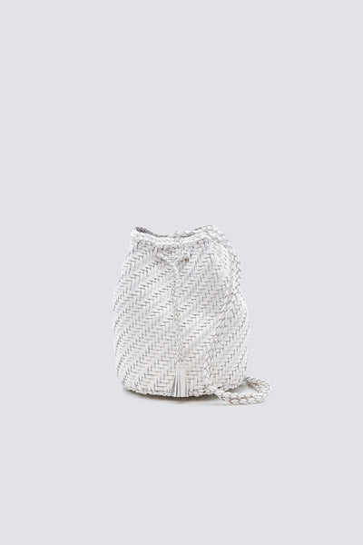 Dragon Diffusion woven leather bag Pompom Double Jump White