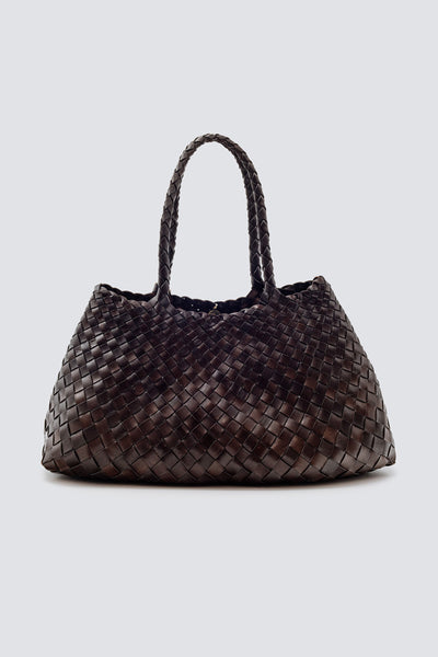 Dragon Diffusion woven leather bag Santa Croce Big Dark Brown