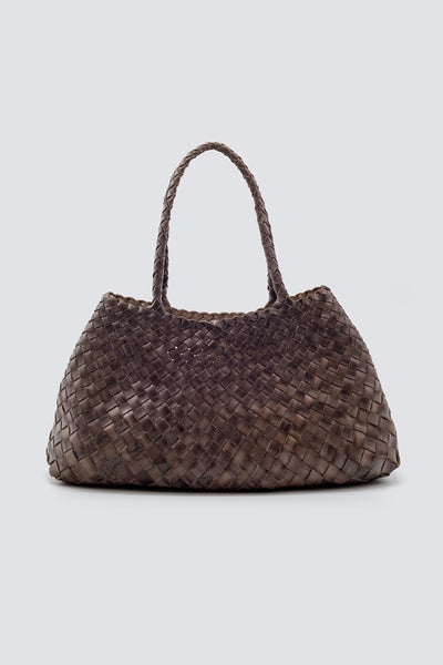 Dragon Diffusion woven leather bag Santa Croce Big Grey